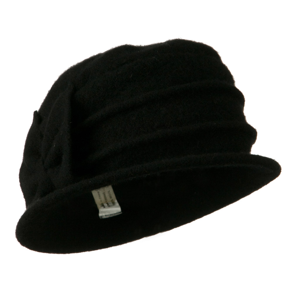 2 Pleat Detailed Boiled Wool Bucket Hat - Black - Hats and Caps Online Shop - Hip Head Gear