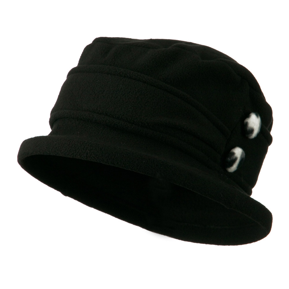 2 Button Women's Fleece Cap - Black - Hats and Caps Online Shop - Hip Head Gear