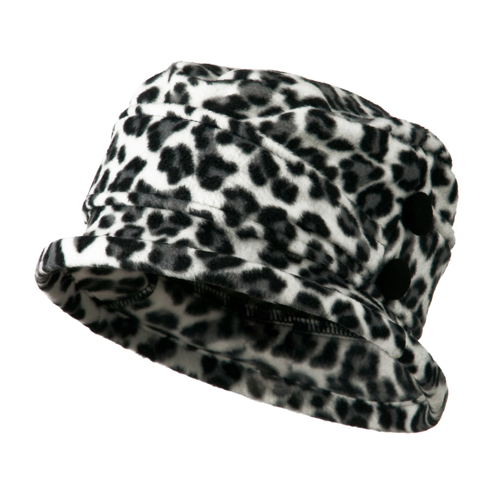 2 Button Women's Fleece Cap - White Cheetah - Hats and Caps Online Shop - Hip Head Gear