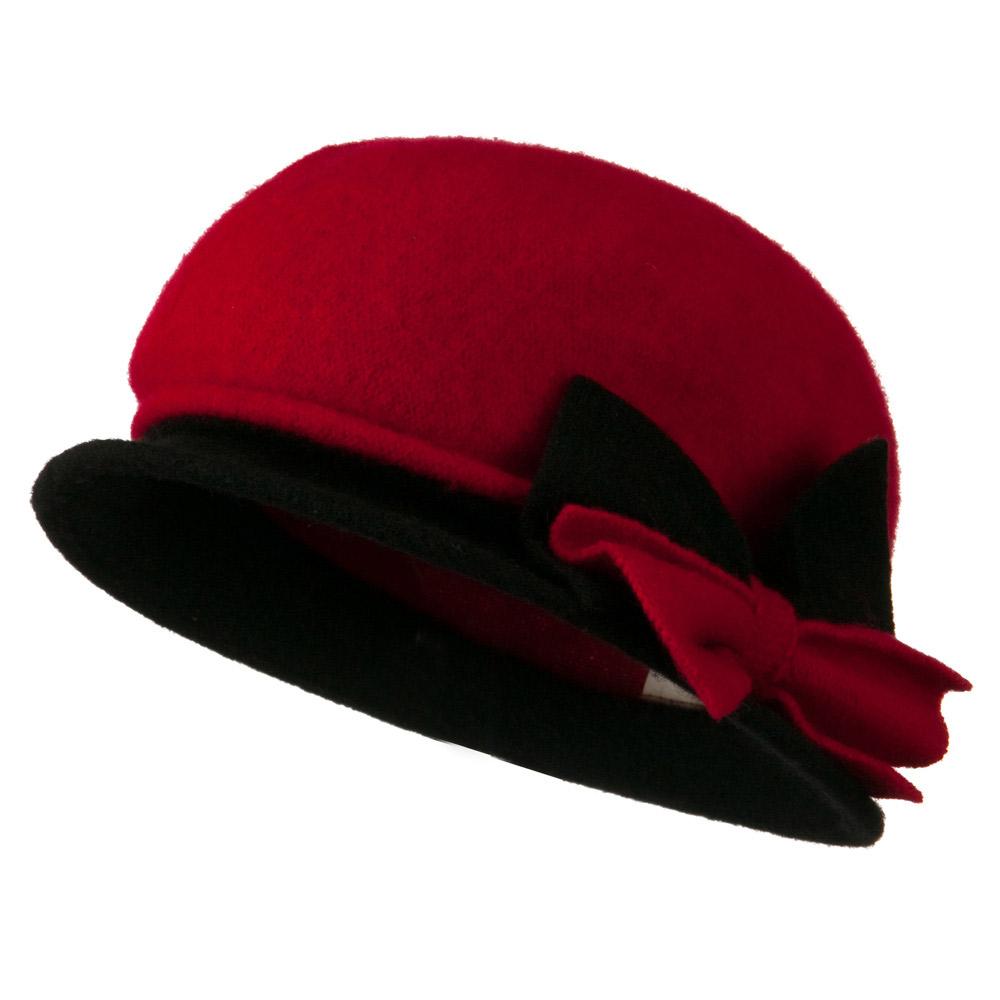 2 Toned Boiled Wool Bucket Hat with Bow Detail - Red Black - Hats and Caps Online Shop - Hip Head Gear