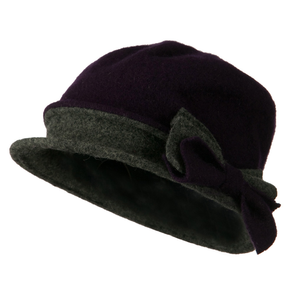 2 Toned Boiled Wool Bucket Hat with Bow Detail - Purple Grey - Hats and Caps Online Shop - Hip Head Gear