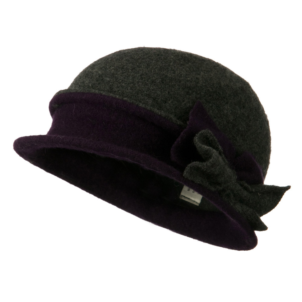 2 Toned Boiled Wool Bucket Hat with Bow Detail - Dark Grey Purple - Hats and Caps Online Shop - Hip Head Gear