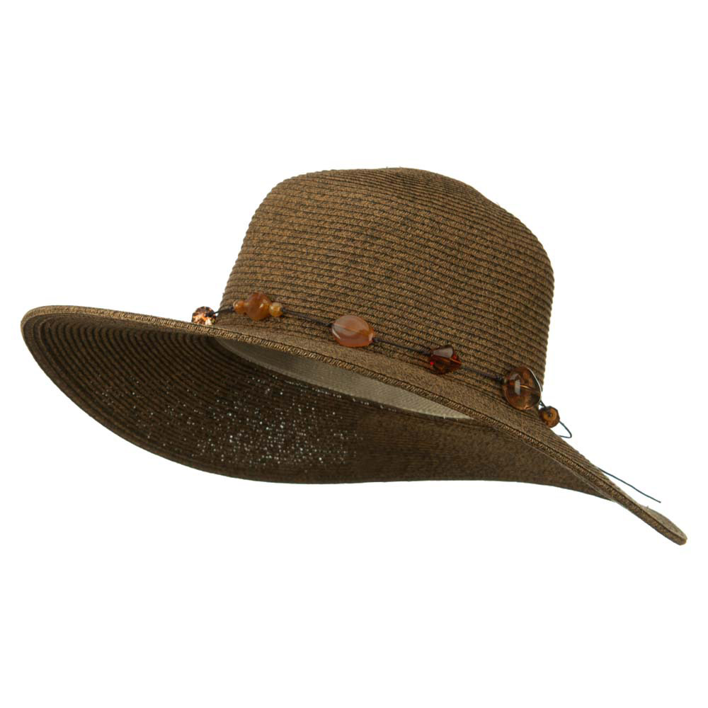 UPF 50+ 4 Inch Beaded Tie Wide Brim Hat - Brown - Hats and Caps Online Shop - Hip Head Gear
