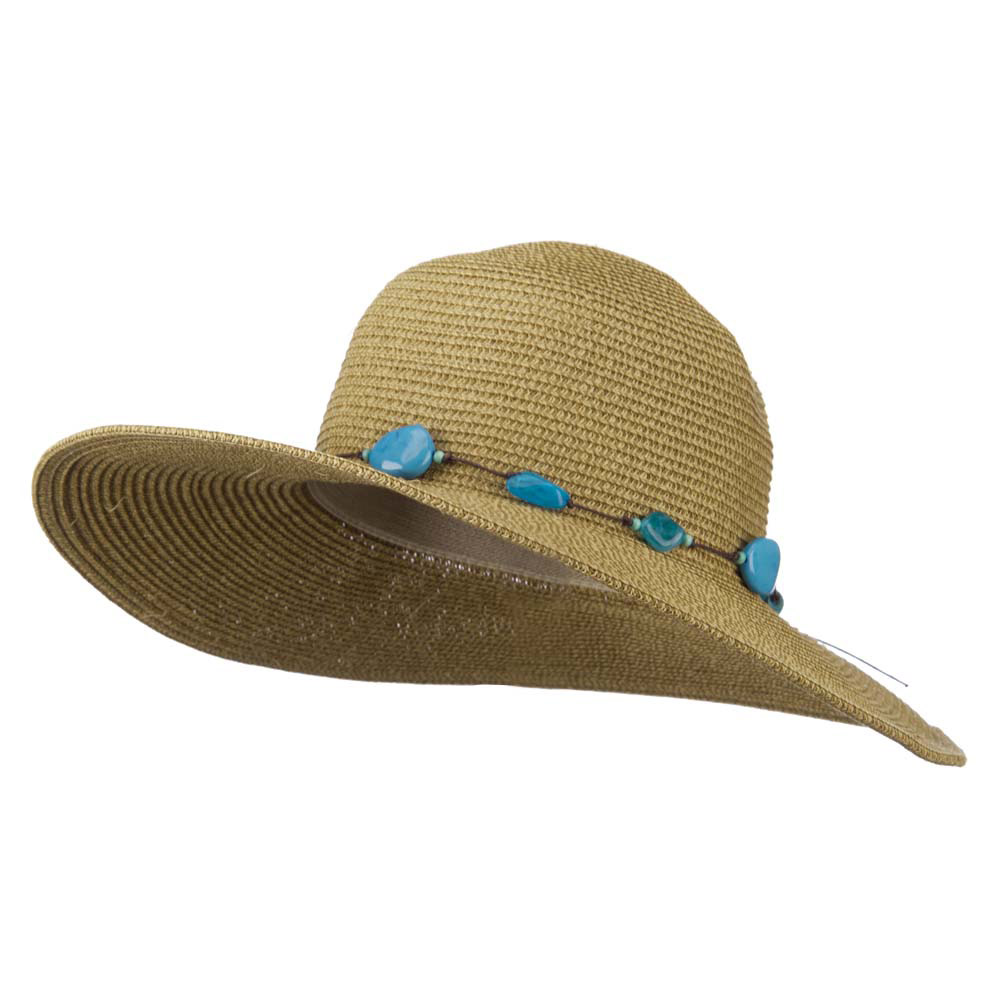 UPF 50+ 4 Inch Beaded Tie Wide Brim Hat - Natural - Hats and Caps Online Shop - Hip Head Gear