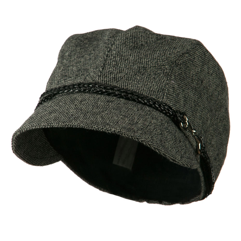4 Panel Wool Blend Cabbie Hat with 2 Braided Front Band - Black