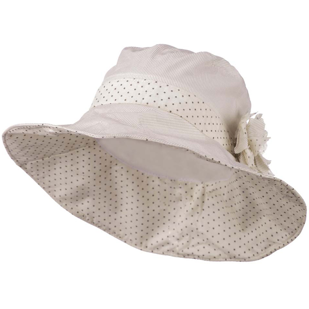 4 Inch Stripe Brim Polka Dot Hat - Beige Cream - Hats and Caps Online Shop - Hip Head Gear