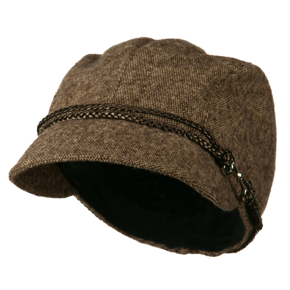 4 Panel Wool Blend Cabbie Hat with 2 Braided Front Band - Brown
