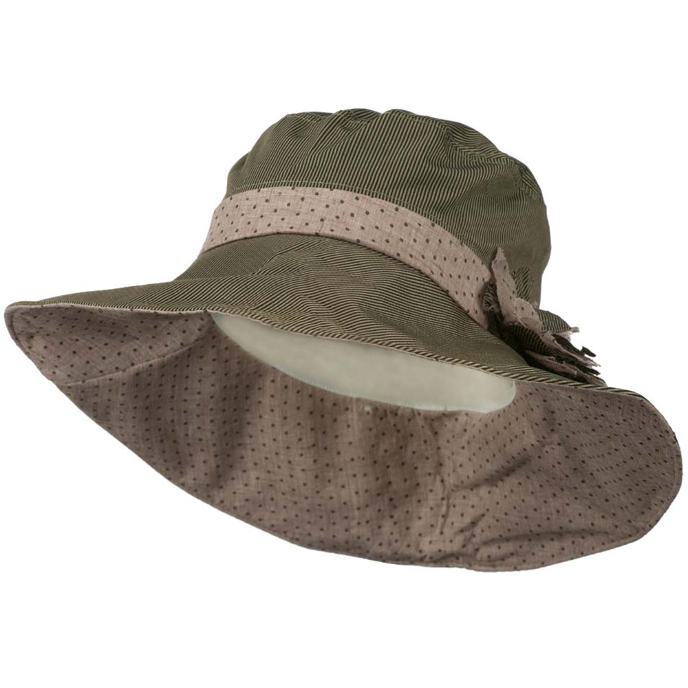 4 Inch Stripe Brim Polka Dot Hat - Grey Pink - Hats and Caps Online Shop - Hip Head Gear
