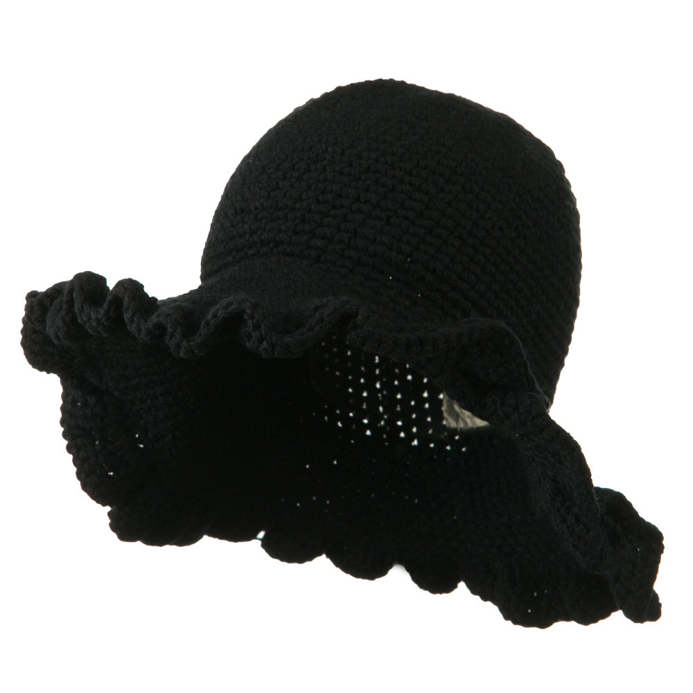 4 Inch Scallop Brim Hat - Black - Hats and Caps Online Shop - Hip Head Gear