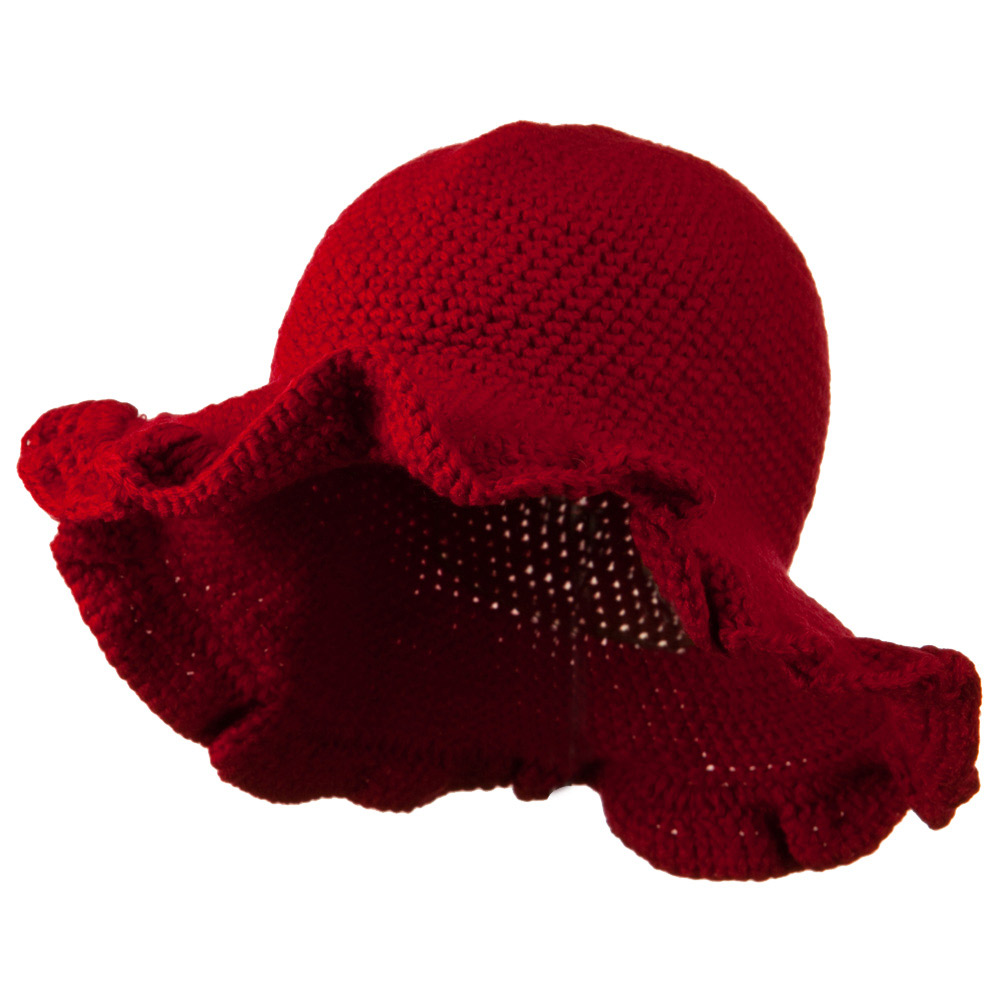 4 Inch Scallop Brim Hat - Red - Hats and Caps Online Shop - Hip Head Gear