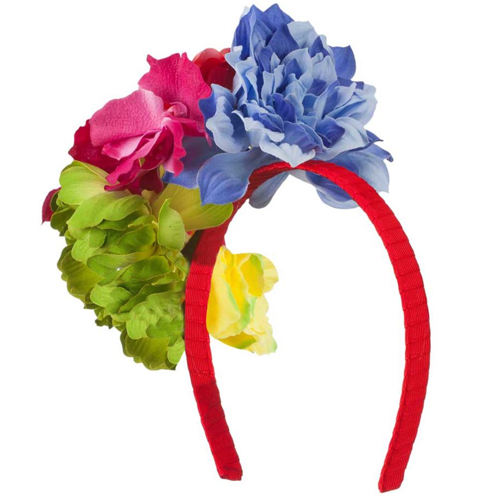 6 Bright Flowers Red Grosgrain Ribbon Covered Headband - Multi - Hats and Caps Online Shop - Hip Head Gear
