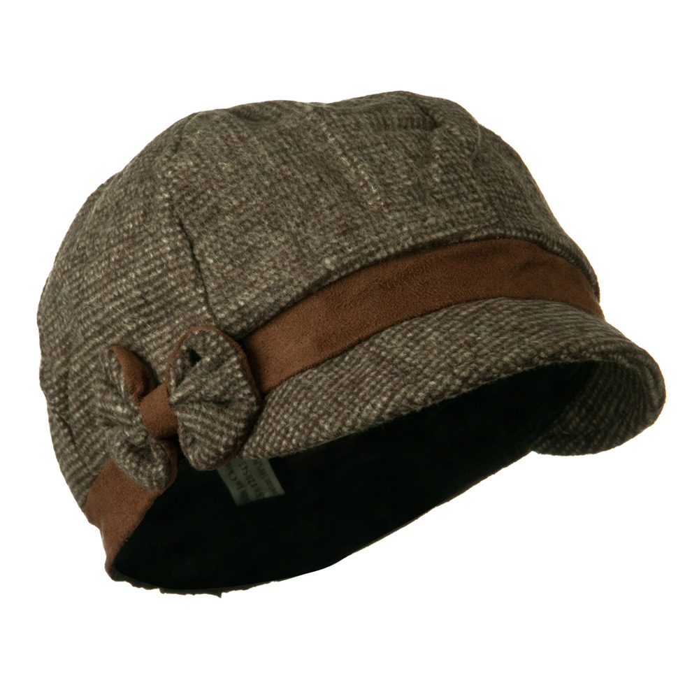 Women's 6 Panel Wool Blend Cabbie Cap with Bow Detail - Brown - Hats and Caps Online Shop - Hip Head Gear