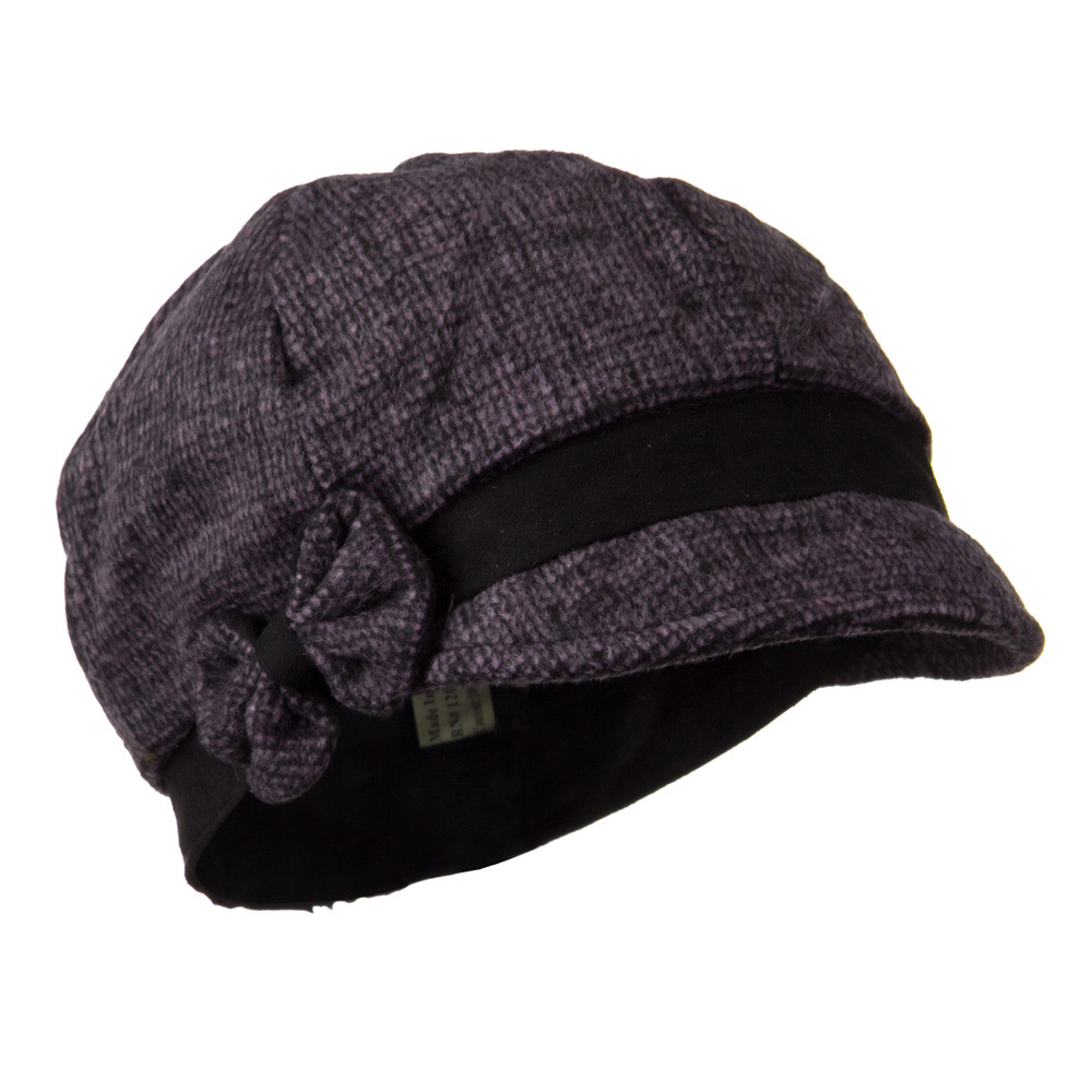 Women's 6 Panel Wool Blend Cabbie Cap with Bow Detail - Purple - Hats and Caps Online Shop - Hip Head Gear