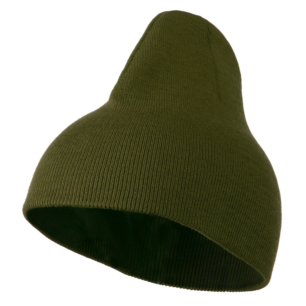 8 inch Acrylic Short Blank Beanie - Olive - Hats and Caps Online Shop - Hip Head Gear