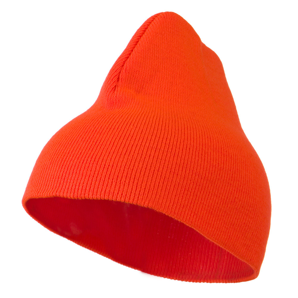 8 inch Acrylic Short Blank Beanie - Orange - Hats and Caps Online Shop - Hip Head Gear
