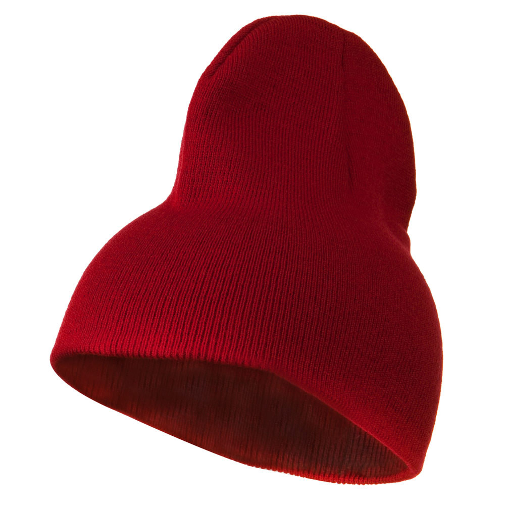 8 inch Acrylic Short Blank Beanie - Red - Hats and Caps Online Shop - Hip Head Gear