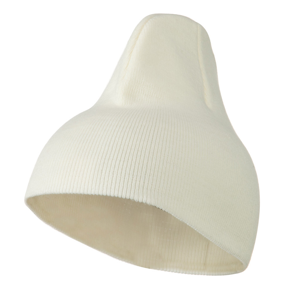 8 inch Acrylic Short Blank Beanie - White - Hats and Caps Online Shop - Hip Head Gear