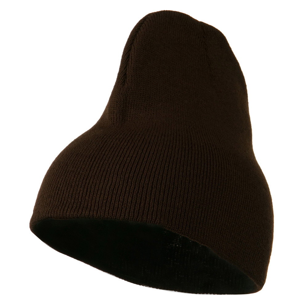 8 inch Acrylic Short Blank Beanie - Brown - Hats and Caps Online Shop - Hip Head Gear