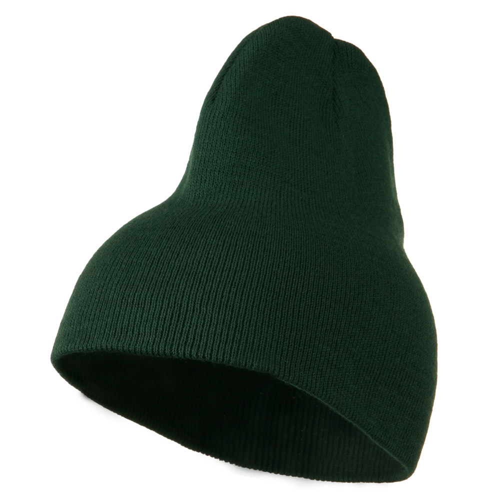 8 inch Acrylic Short Blank Beanie - Dark Green - Hats and Caps Online Shop - Hip Head Gear