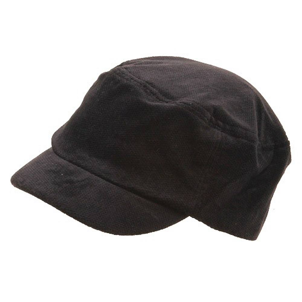 Corduroy Fitted Engineer Cap-Black - Hats and Caps Online Shop - Hip Head Gear