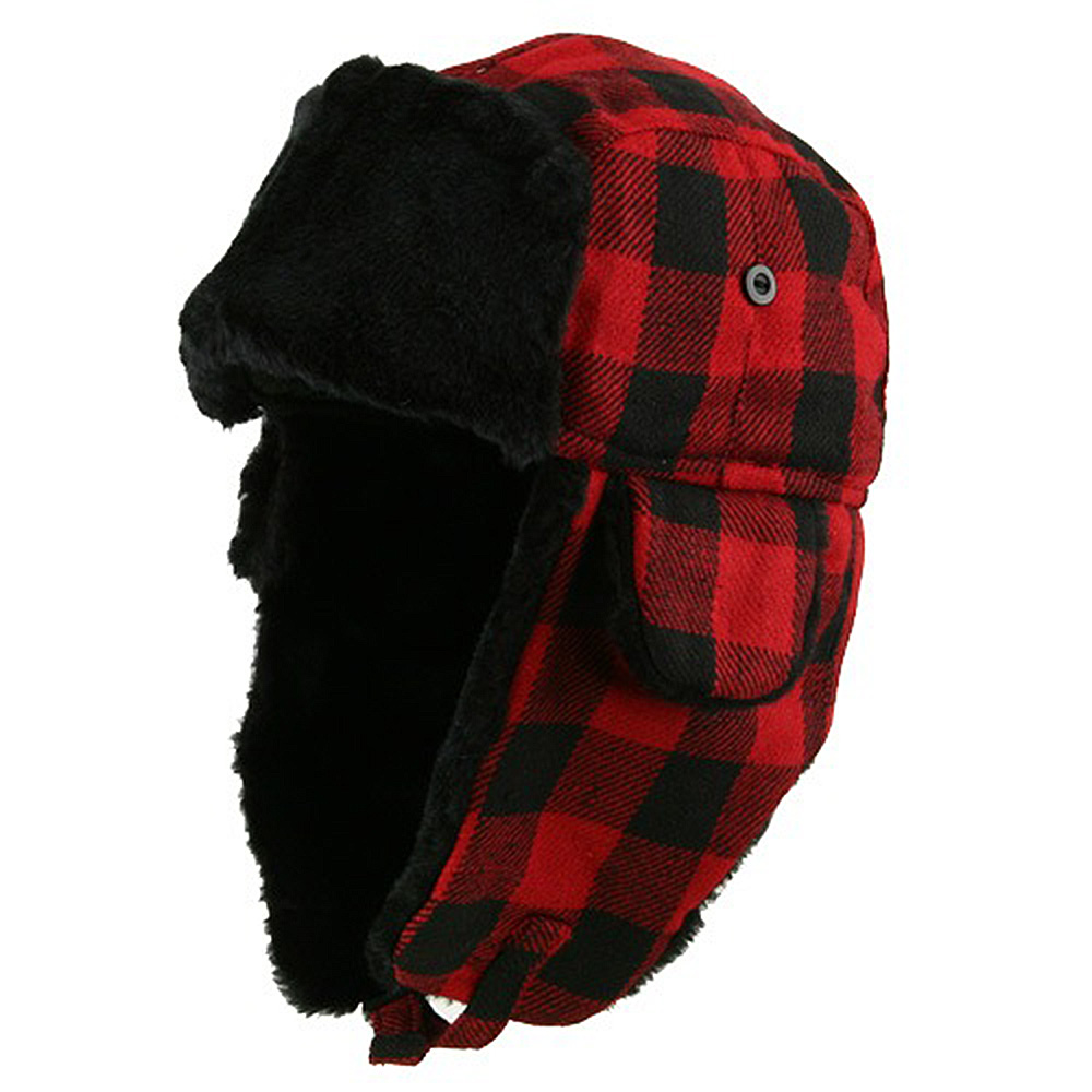 Buffalo Plaid Trooper Hat - Black Red - Hats and Caps Online Shop - Hip Head Gear