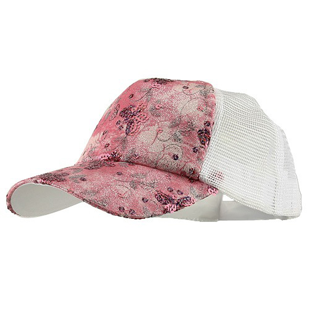 5 Panel Butterfly Sequins Mesh Cap - Pink - Hats and Caps Online Shop - Hip Head Gear