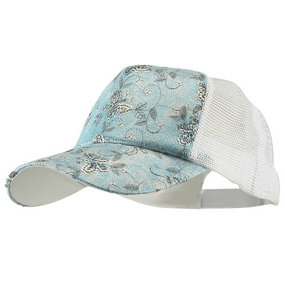 5 Panel Butterfly Sequins Mesh Cap - Light Blue - Hats and Caps Online Shop - Hip Head Gear