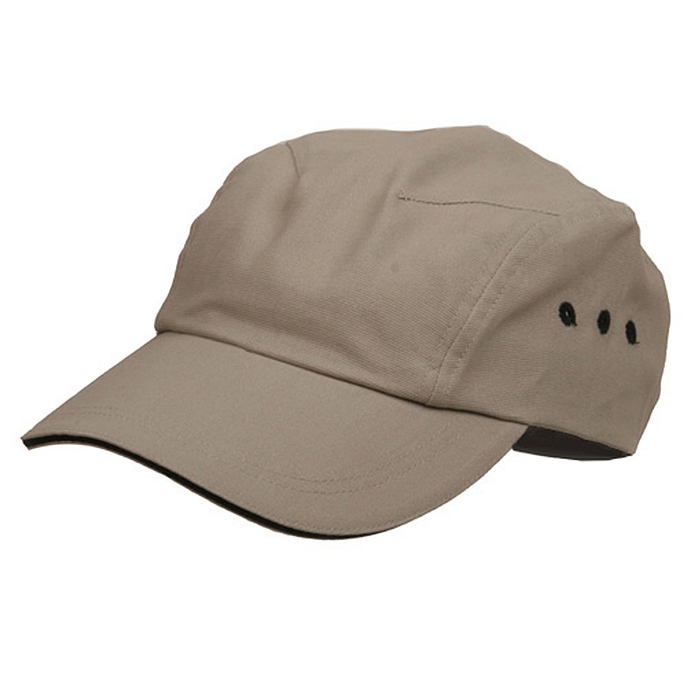 Brushed Canvas Bicycle Caps-Khaki Black - Hats and Caps Online Shop - Hip Head Gear
