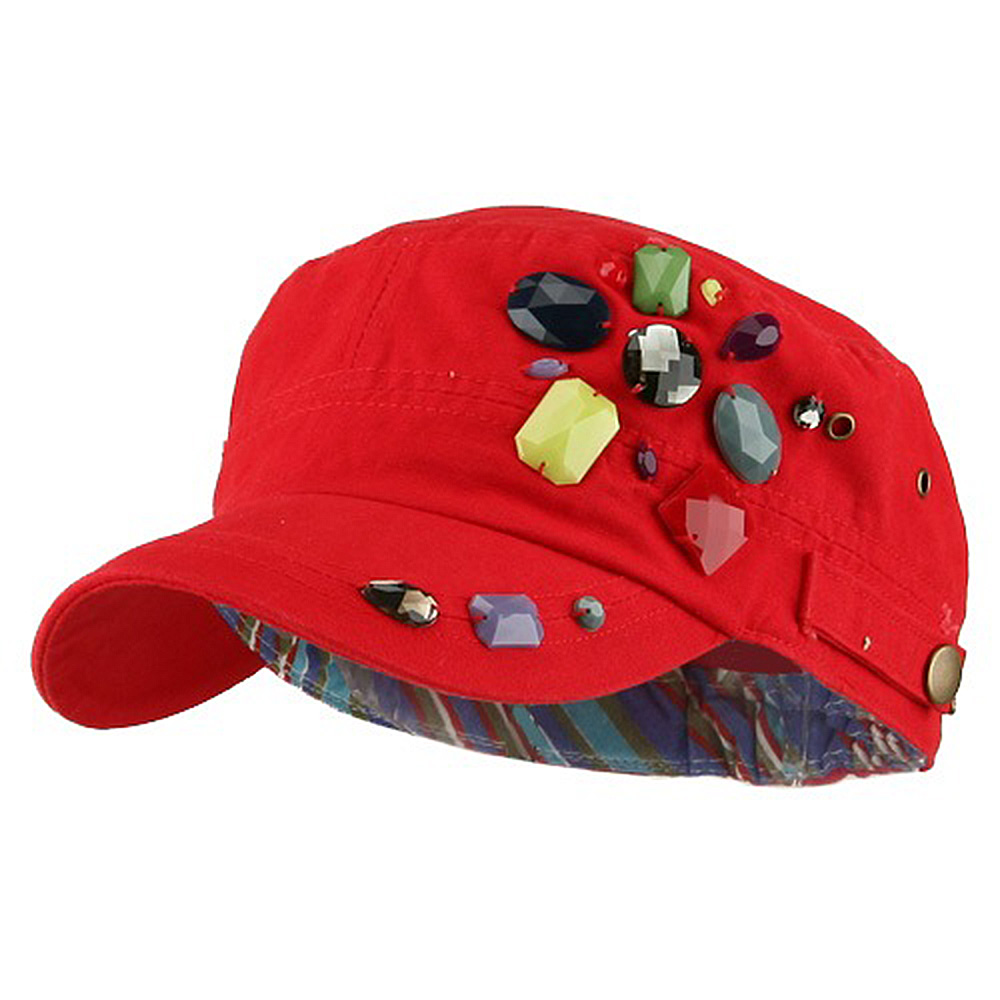 Scattered Colored Gem Cap - Red - Hats and Caps Online Shop - Hip Head Gear