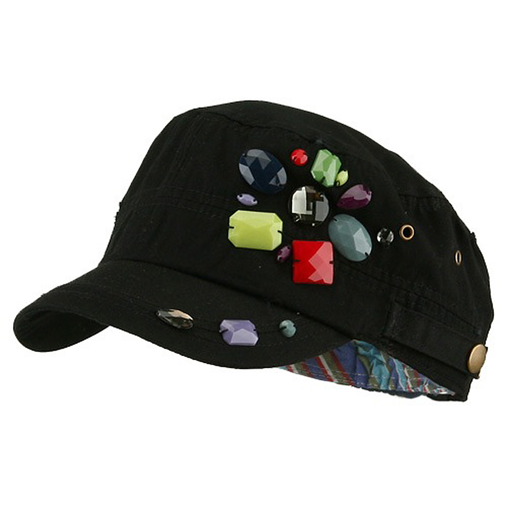 Scattered Colored Gem Cap - Black - Hats and Caps Online Shop - Hip Head Gear