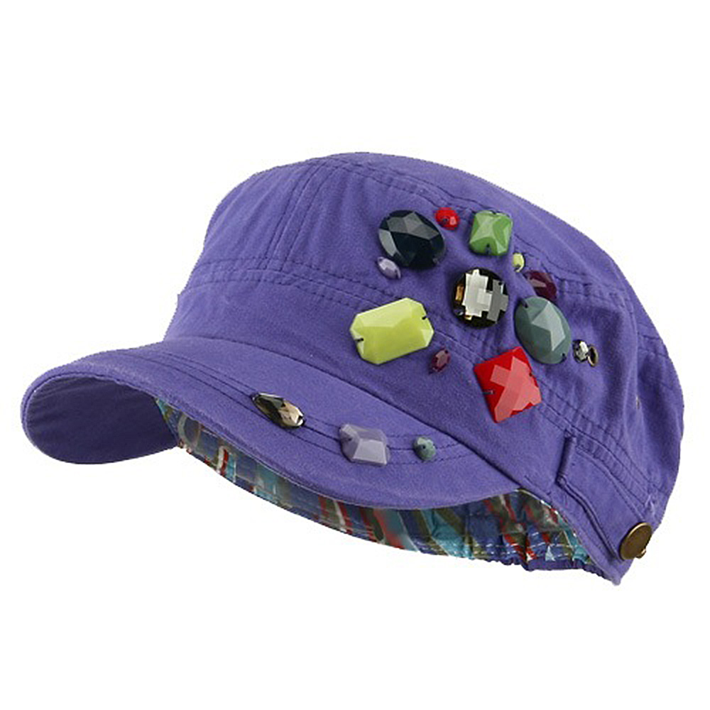 Scattered Colored Gem Cap - Purple