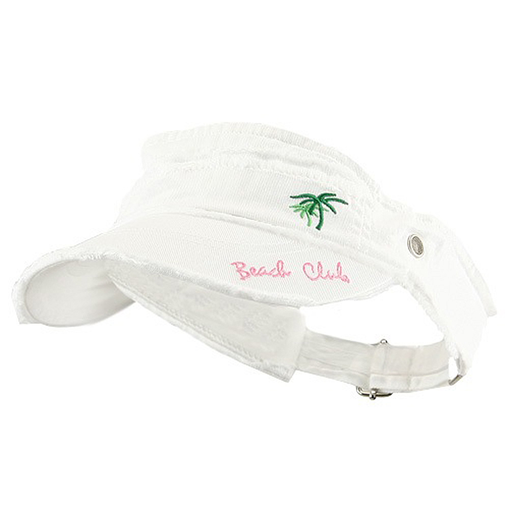 Beach Club Frayed Visor - White - Hats and Caps Online Shop - Hip Head Gear