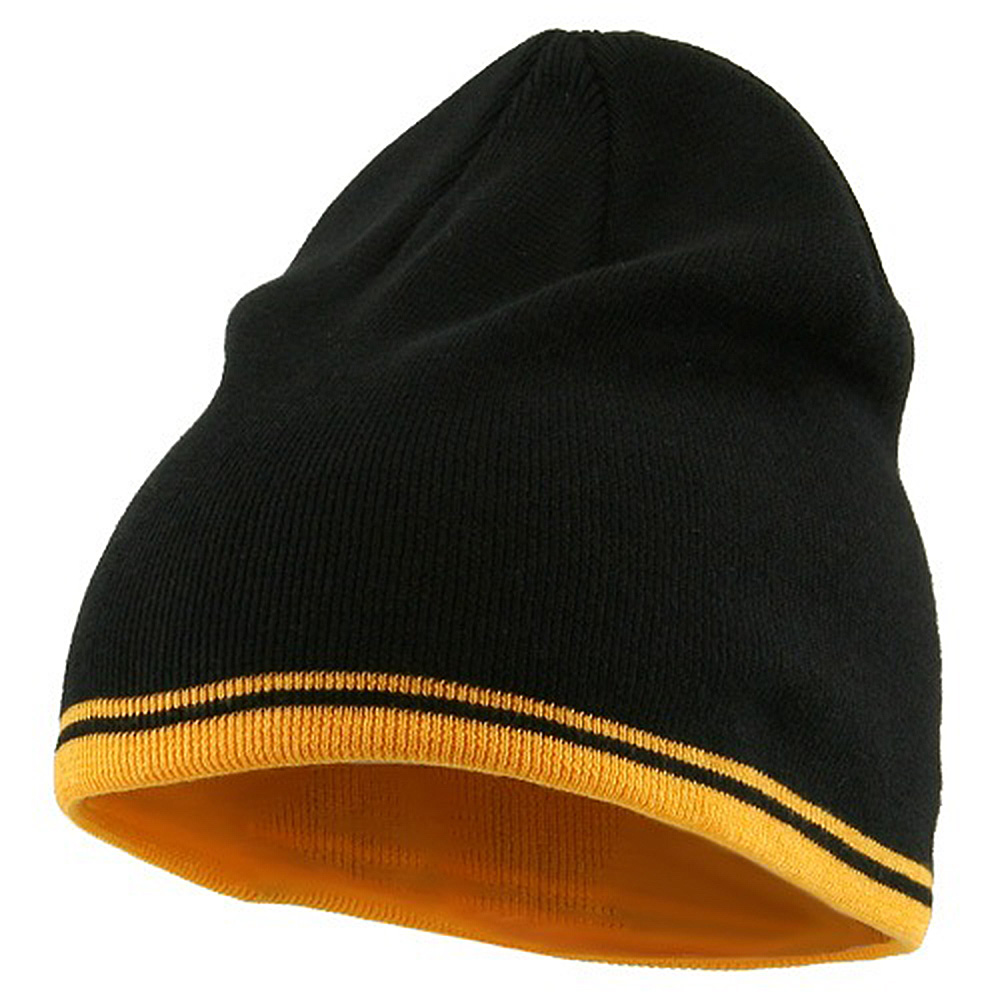 Acrylic Cotton Striped Knit Beanie-Black Gold - Hats and Caps Online Shop - Hip Head Gear