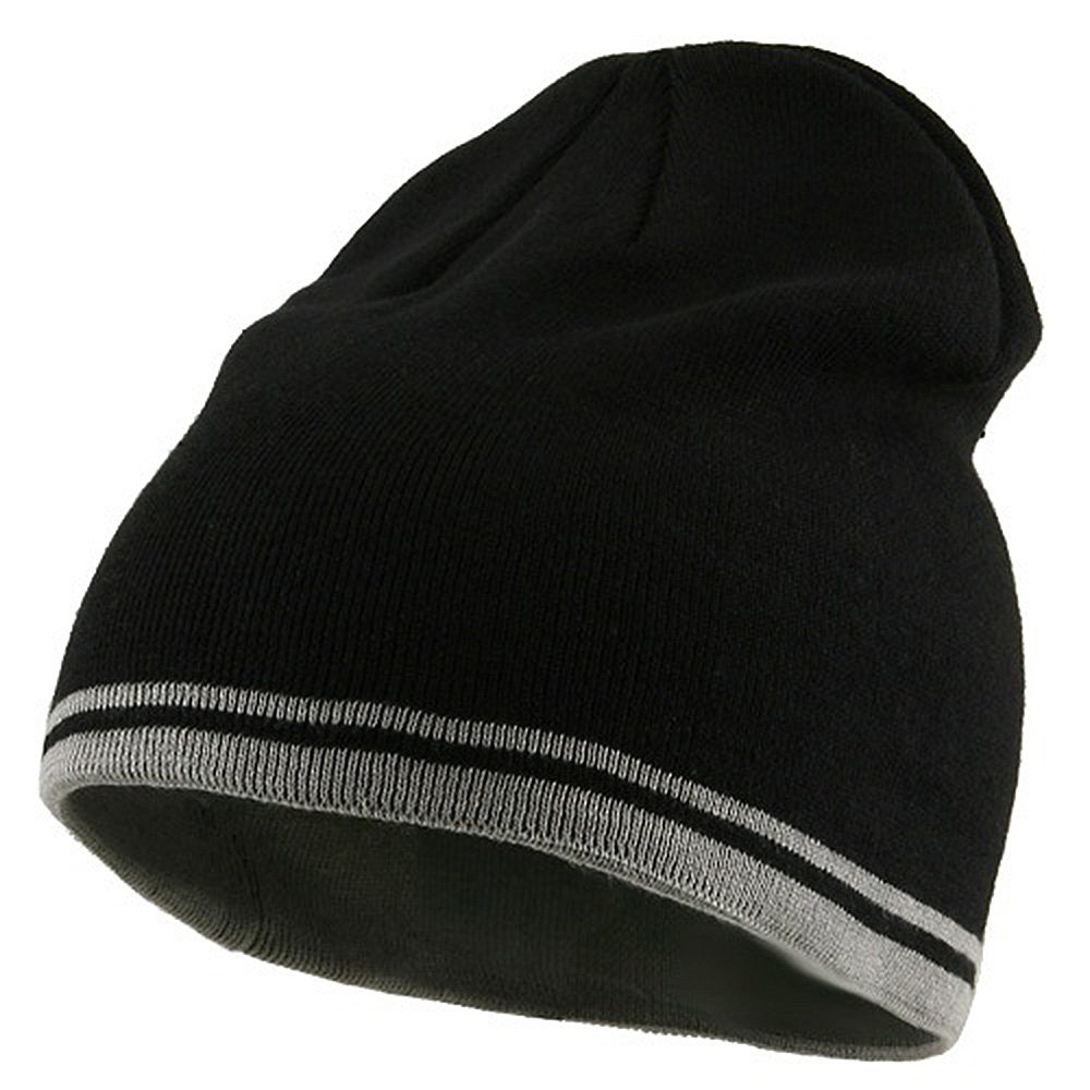 Acrylic Cotton Striped Knit Beanie-Black Grey - Hats and Caps Online Shop - Hip Head Gear