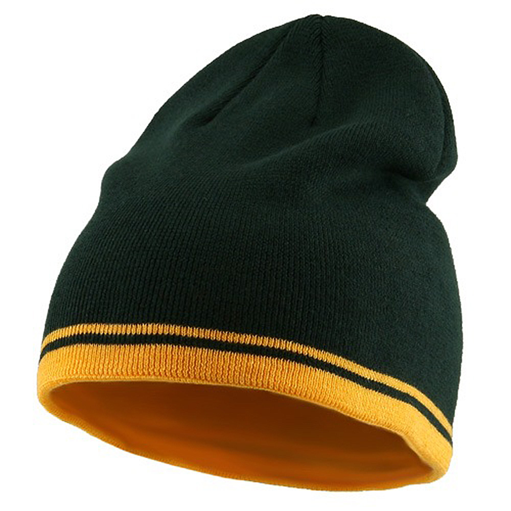 Acrylic Cotton Striped Knit Beanie-Green Gold - Hats and Caps Online Shop - Hip Head Gear