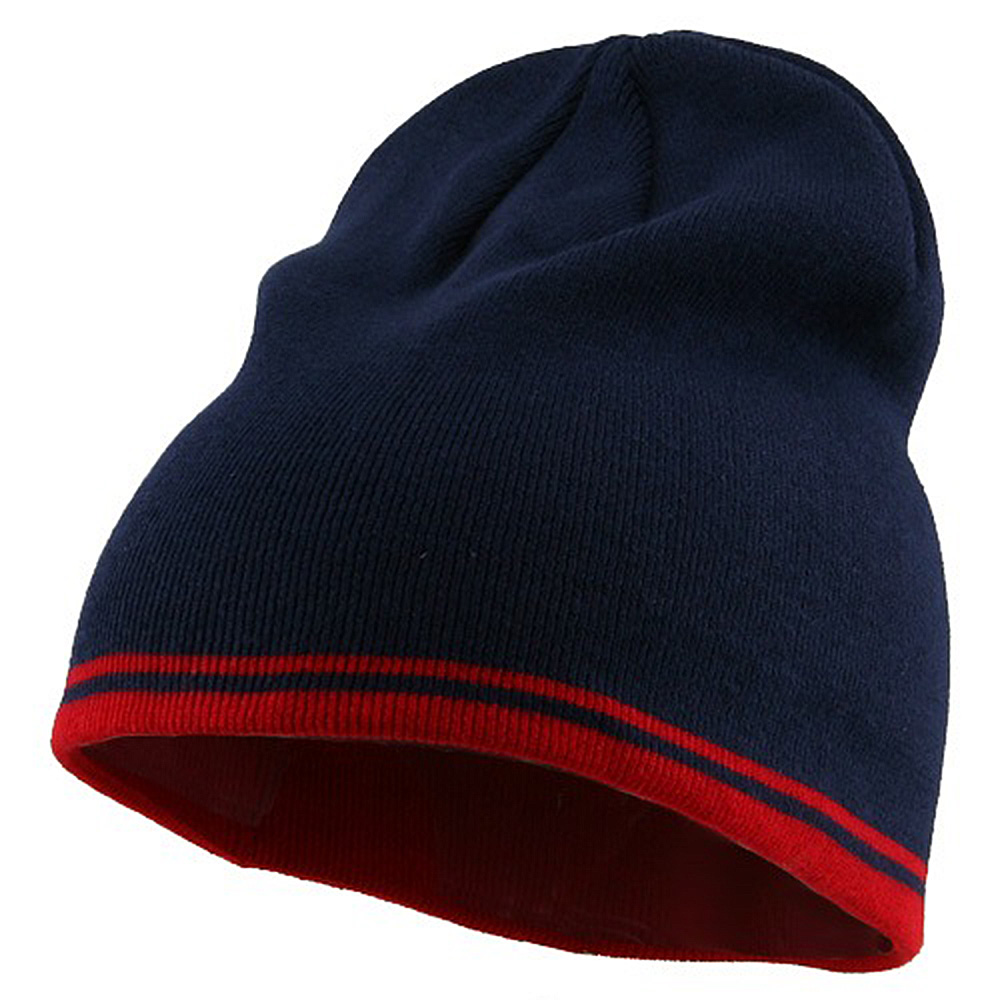 Acrylic Cotton Striped Knit Beanie-Navy Red - Hats and Caps Online Shop - Hip Head Gear