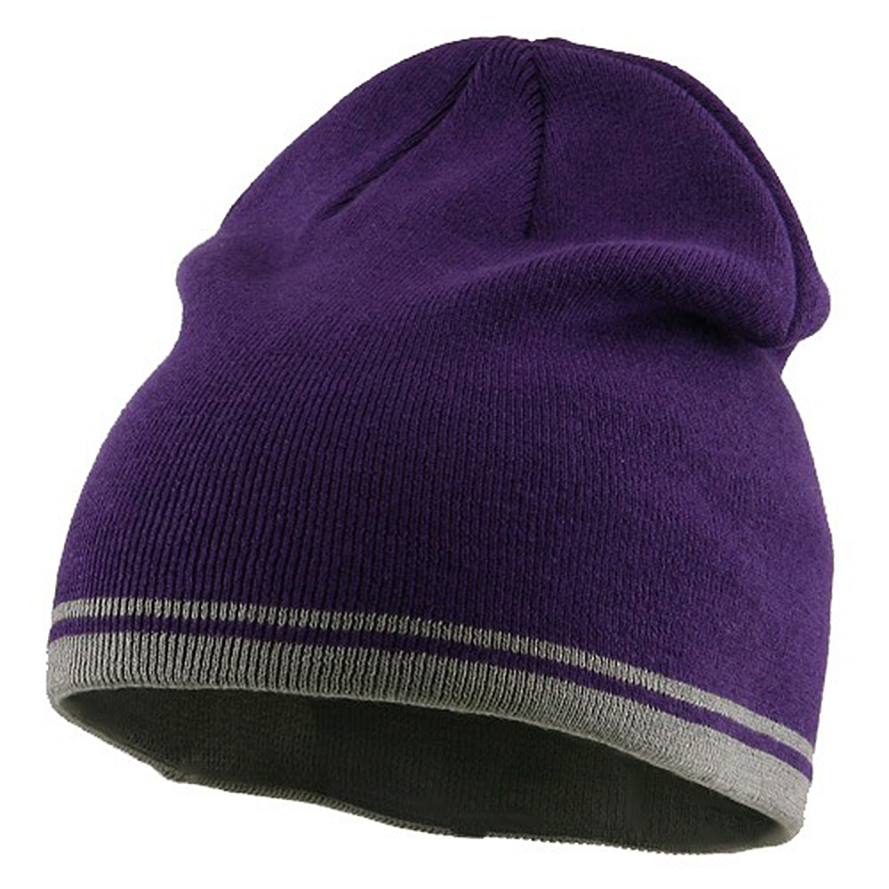 Acrylic Cotton Striped Knit Beanie-Purple Grey - Hats and Caps Online Shop - Hip Head Gear