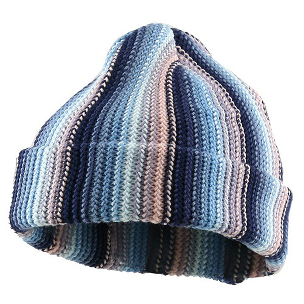 Crocheted Cuff Knit Beanie - Blue - Hats and Caps Online Shop - Hip Head Gear