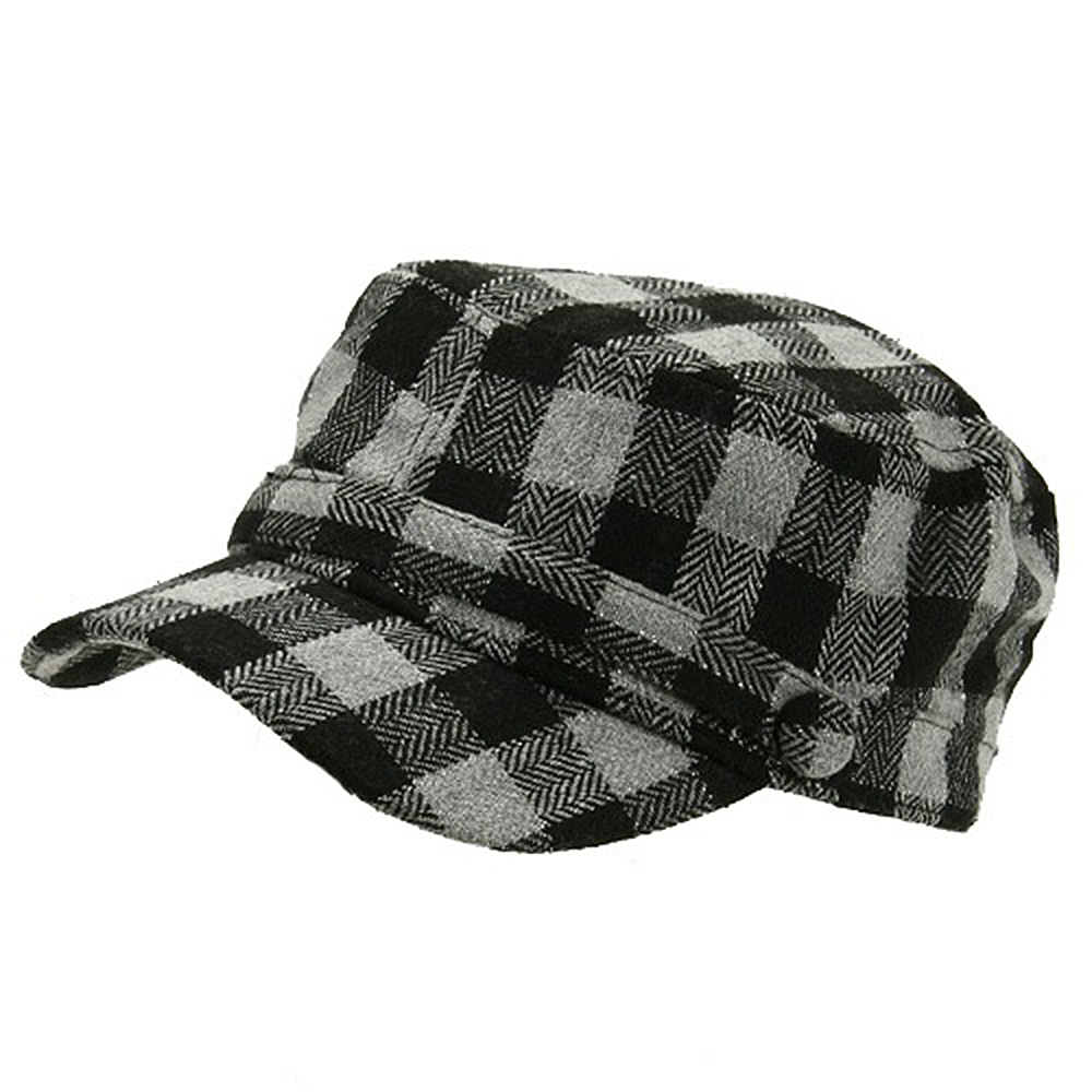 Wool Blend Checker ML Cadet Cap - Black - Hats and Caps Online Shop - Hip Head Gear