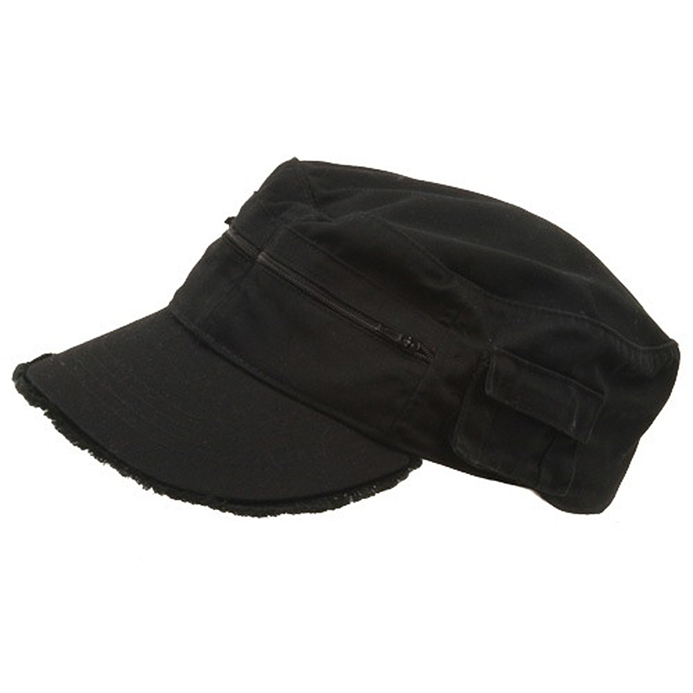 Zippered Enzyme Army Cap-Black - Hats and Caps Online Shop - Hip Head Gear