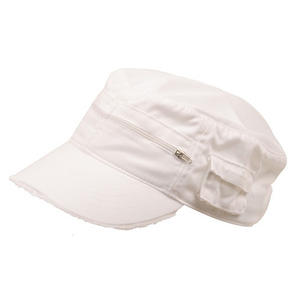 Zippered Enzyme Army Cap-White - Hats and Caps Online Shop - Hip Head Gear