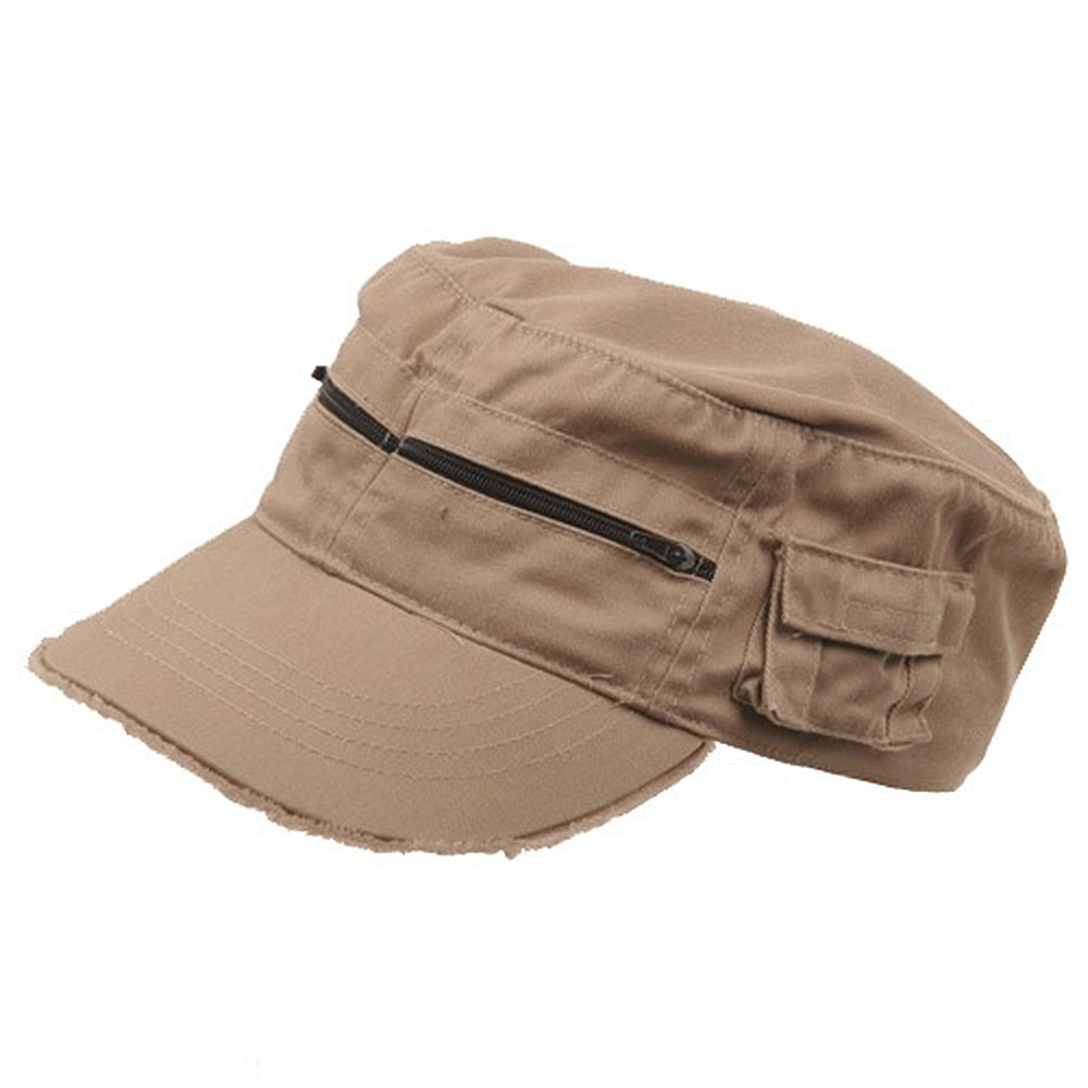 Zippered Enzyme Army Cap-Khaki - Hats and Caps Online Shop - Hip Head Gear