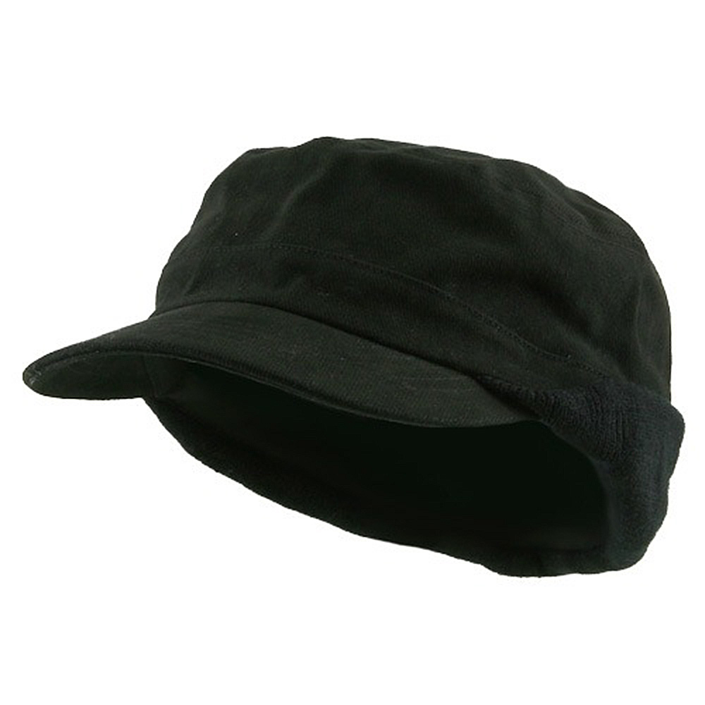 Heavy Brushed Cotton Army Cap-Black - Hats and Caps Online Shop - Hip Head Gear
