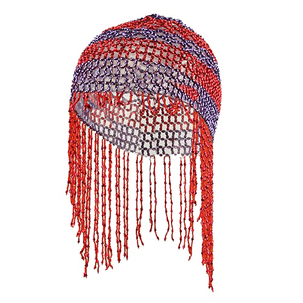 Dangly Beeded Head Cover - Red Purple - Hats and Caps Online Shop - Hip Head Gear