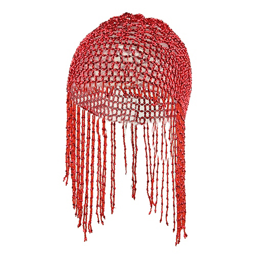 Dangly Beeded Head Cover - Red - Hats and Caps Online Shop - Hip Head Gear