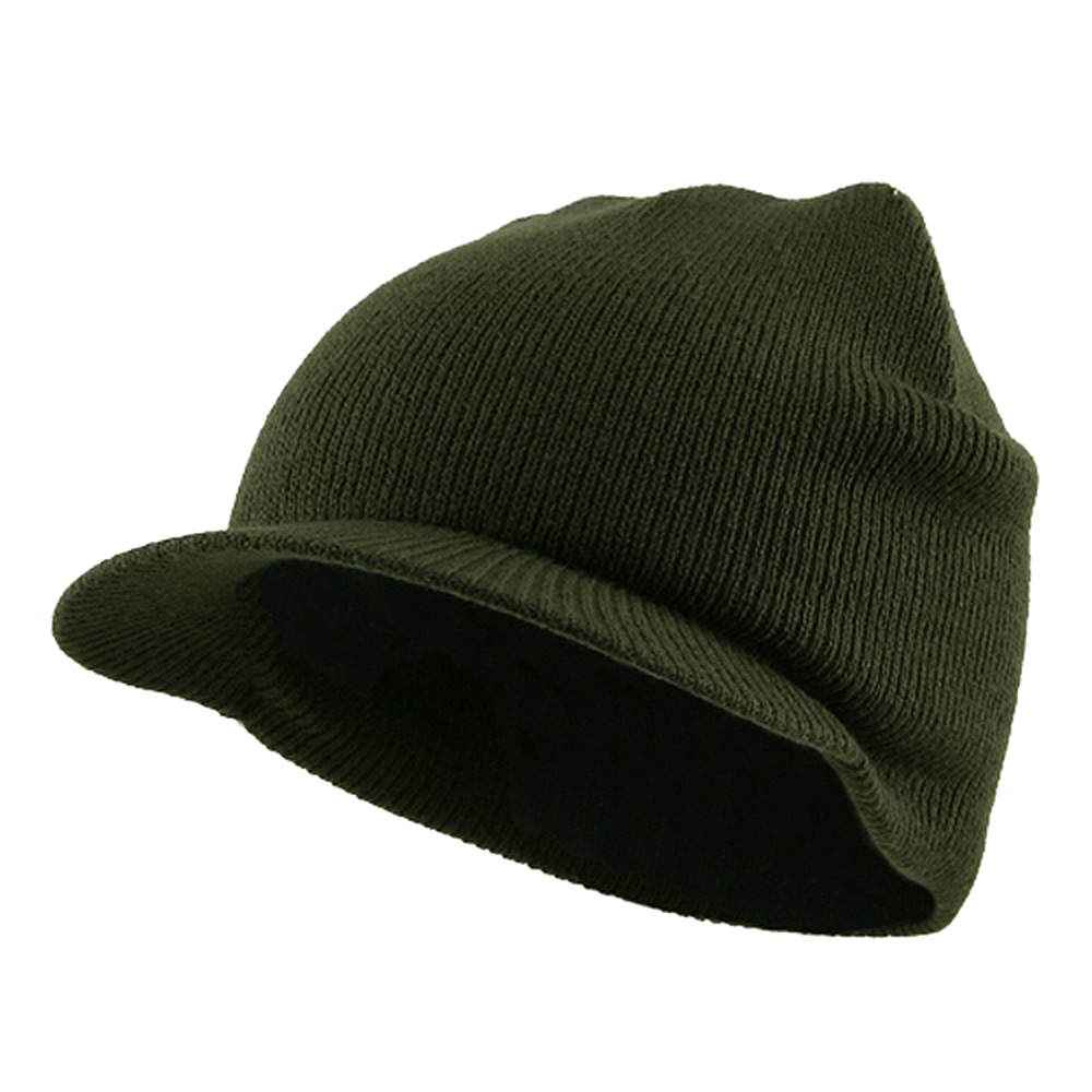Cuffless Beanie Sports Visor-Olive - Hats and Caps Online Shop - Hip Head Gear