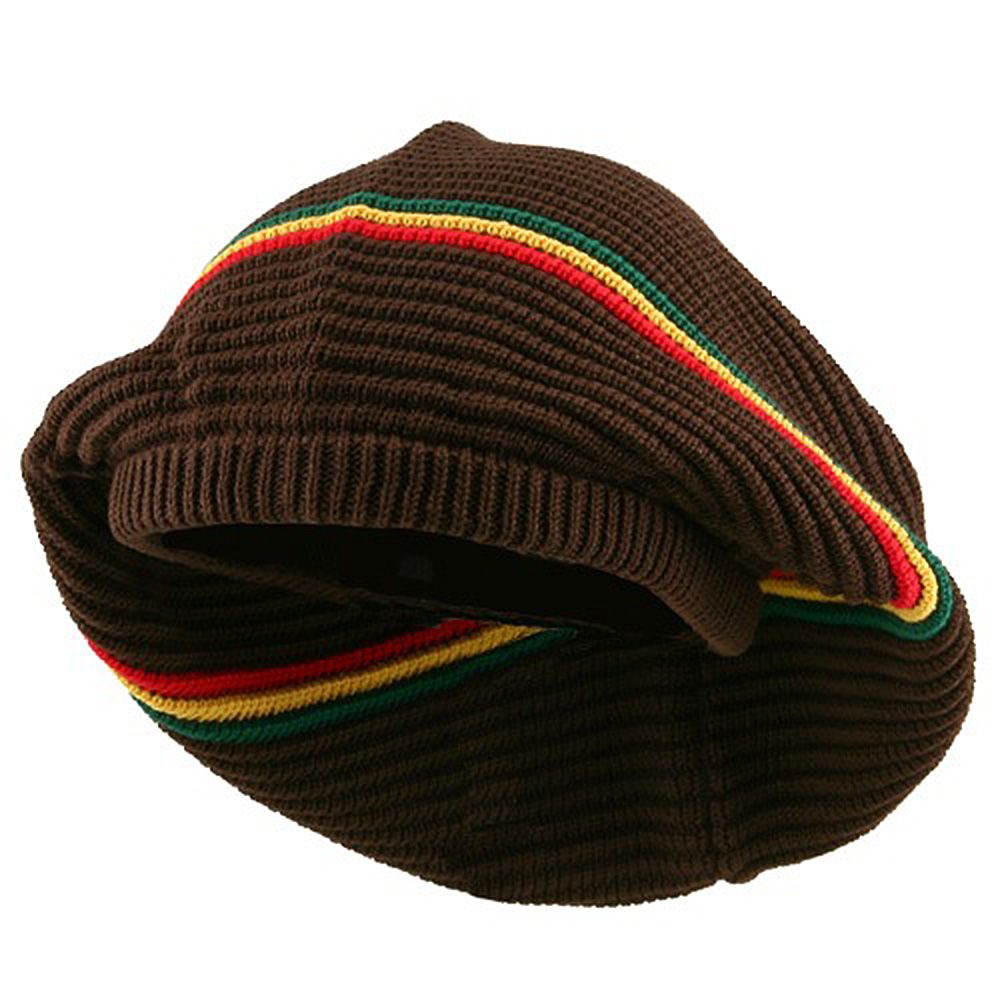 New Rasta Deep Crown Beanie-Brown RGY - Hats and Caps Online Shop - Hip Head Gear