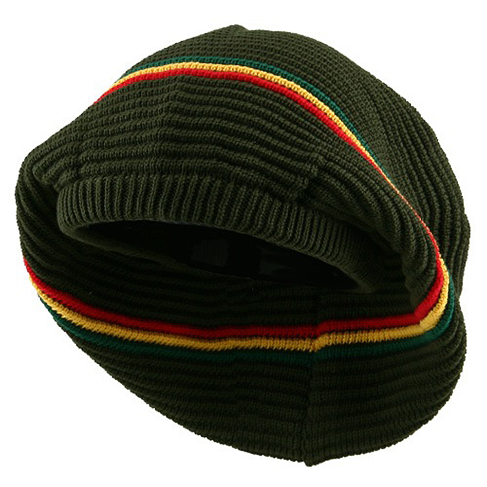 New Rasta Deep Crown Beanie-Olive RGY - Hats and Caps Online Shop - Hip Head Gear