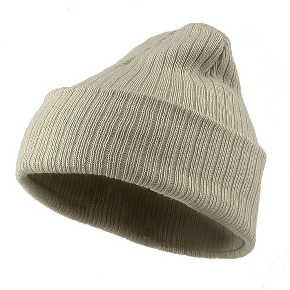 Acrylic Ribbed Cuff Beanie - Beige - Hats and Caps Online Shop - Hip Head Gear