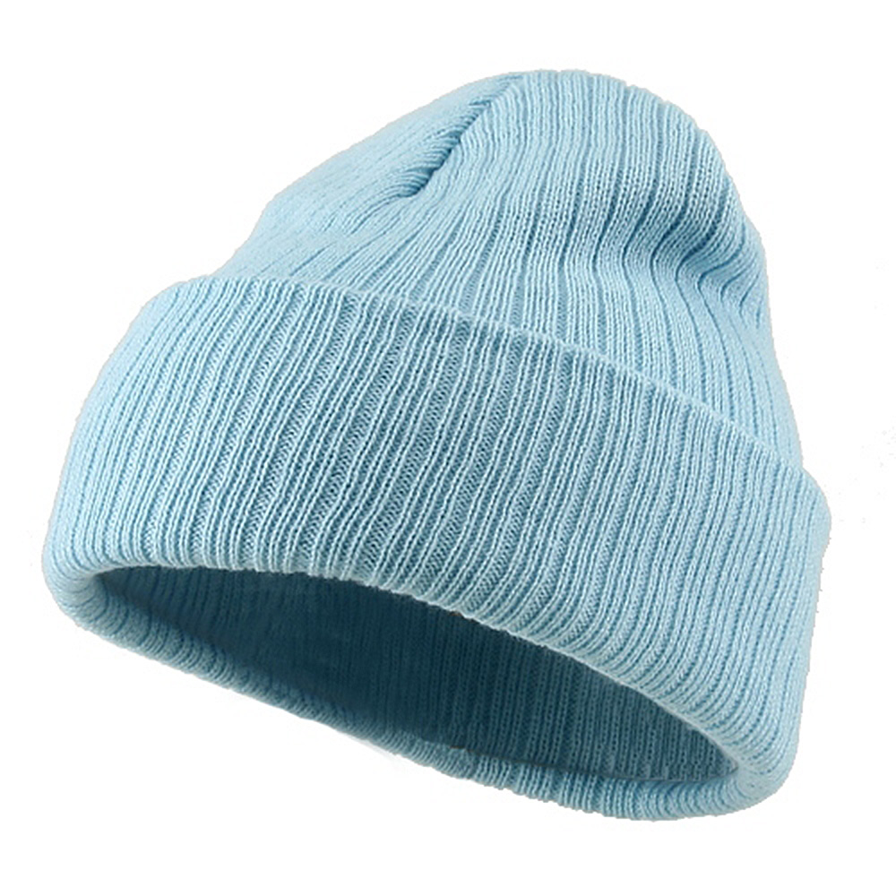 Acrylic Ribbed Cuff Beanie - Light Blue - Hats and Caps Online Shop - Hip Head Gear